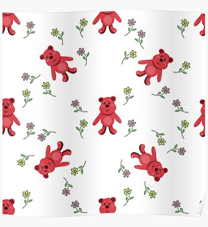 seamless pattern with red bears Poster
