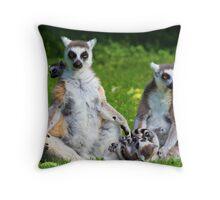 Lemur Catta Family Throw Pillow