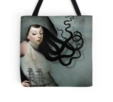 Girl with a sailing ship Tote Bag