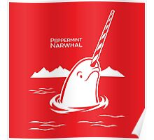 Peppermint Narwhal - Surfacing Arctic Narwhal Poster