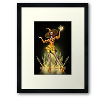 The witch and the enchanted crystals Framed Print