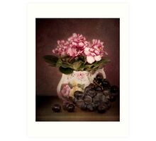 Violets And Grapes Art Print