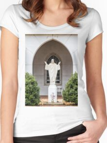 Statue of Jesus Women's Fitted Scoop T-Shirt