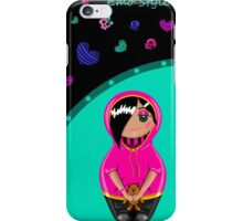 Card in emo style. Painted hands with a cute girl emo and colorful skulls and hearts. iPhone Case/Skin