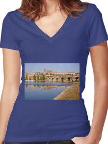 City of Prague Women's Fitted V-Neck T-Shirt