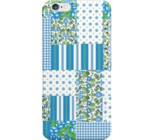 Blue Morning Glory Faux Patchwork Pattern iPhone Case/Skin