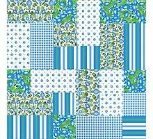 Blue Morning Glory Faux Patchwork Pattern Photographic Print