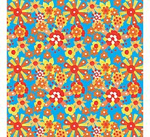 Ditzy Orange Floral Pattern on Blue Photographic Print
