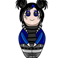 The isolated nested doll the goth drawn by hand.Cute gothic girl. by Ann-Julia