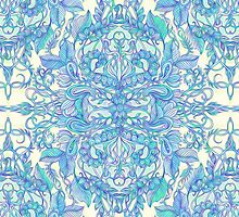 Lilac, Mint & Aqua Art Nouveau Pattern by micklyn