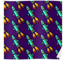 seamless pattern with space rockets flying on purple background. Cute kids doodle drawing. Poster