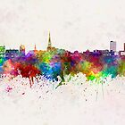 Leeuwarden skyline in watercolor background by paulrommer
