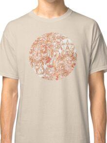 Autumn Peach Art Nouveau Pattern Classic T-Shirt