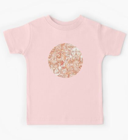 Autumn Peach Art Nouveau Pattern Kids Tee