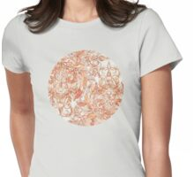 Autumn Peach Art Nouveau Pattern Womens Fitted T-Shirt