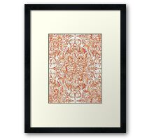 Autumn Peach Art Nouveau Pattern Framed Print
