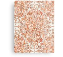 Autumn Peach Art Nouveau Pattern Metal Print