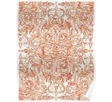 Autumn Peach Art Nouveau Pattern Poster