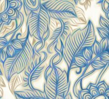 Blue & Tan Art Nouveau Pattern Sticker