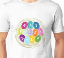 happy easter colorful eggs in a nest Unisex T-Shirt