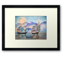 Shades of Tranquility - Cubist Junks Framed Print