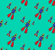 seamless pattern with space rockets flying on blue background. Cute kids doodle drawing. by Ann-Julia