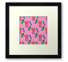 seamless pattern with cute aliens. Cute kids doodle sketch. Framed Print