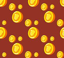 seamless pattern with gold coins which depicts a nut. Cute background by Ann-Julia