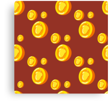 seamless pattern with gold coins which depicts a nut. Cute background Canvas Print