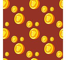 seamless pattern with gold coins which depicts a nut. Cute background Photographic Print
