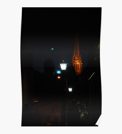 Cathedral light in the evening.  Sacred Heart Cathedral in Bendigo.  Poster