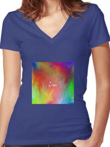 Multi-Colored Love  Women's Fitted V-Neck T-Shirt
