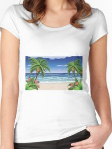 Beach and tropical sea Women's Fitted Scoop T-Shirt
