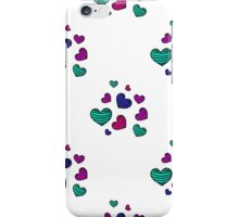 seamless pattern with colorful striped hearts iPhone Case/Skin