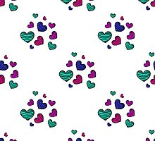 seamless pattern with colorful striped hearts by Ann-Julia