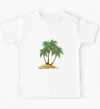 Cartoon island with palms Kids Tee