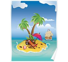 Cartoon Palm Island Poster