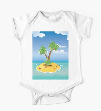 Cartoon Palm Island One Piece - Short Sleeve