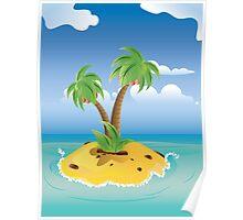 Cartoon Palm Island Poster
