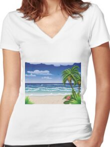 Palm tree on beach Women's Fitted V-Neck T-Shirt