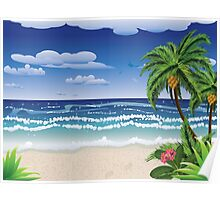 Palm tree on beach Poster