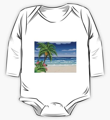 Palm tree on beach 2 One Piece - Long Sleeve