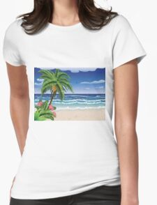Palm tree on beach 2 Womens Fitted T-Shirt