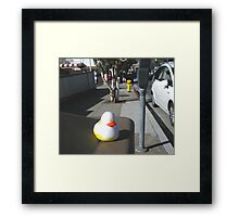 """ Rubber Ducky Looms Large "" Framed Print"