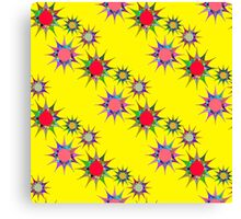 seamless pattern with colorful stars on a yellow background. Bright geometric pattern. Canvas Print