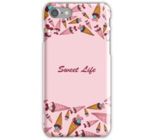 """A vector illustration with sweets and the text """"Sweet life"""". Cute background.  Color doodle background iPhone Case/Skin"""