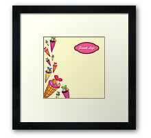"""Greeting card. A vector illustration with sweets and the text """"Sweet life"""". Cute background.  Color doodle background Framed Print"""