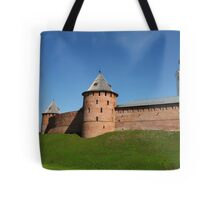 View of the fortress wall of the Novgorod Kremlin Tote Bag