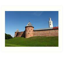 View of the fortress wall of the Novgorod Kremlin Art Print