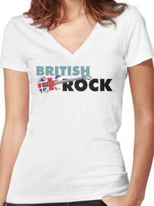 British Rock Music Guitar Women's Fitted V-Neck T-Shirt